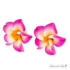 1 Paar FIMO Blüten Ohrstecker neon pink weiß neon orange