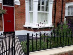 front wall rail garden mosaic victorian tile path balham london (3) Victorian Mosaic Tile, Victorian Front Garden, Gates And Railings, Wall Railing, Front Gardens, Mosaic Garden, Front Entrances, House Front, Exterior Colors