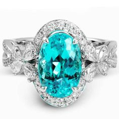 Simon G. 18K White Gold Oval Cut Blue Paraiba Tourmaline and Diamond Ring