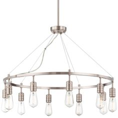 """Minimalist Edison Wire Chandelier - 10 Light ea 40 watts, at Shades, 479. has down rod, not sure canopy bends. 30"""" wide"""