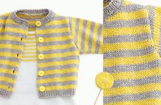Opera Baby Cardigan - Free Knitting Pattern : This cute striped baby cardigan is soft and made of the beautiful cotton yarn Phil Opera. Get the free knitting pattern of the Opera baby Cardigan here! Baby Knitting Patterns, Baby Sweater Patterns, Crochet Cardigan Pattern, Knitting For Kids, Baby Patterns, Free Knitting, Free Crochet, Knit Baby Sweaters, Baby Pullover Muster