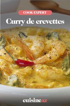 Au Cook Expert de Magimix, réalisez un plat épicé : un curry de crevettes. C'est facile à cuisiner 🍤 #recette #cuisine #curry #crevette #epice #robotculinaire #cookexpert #magimix Cheeseburger Chowder, Robot, Soup, Chicken, Cooking Recipes, Curry Shrimp, Curry Paste, Soups, Robots
