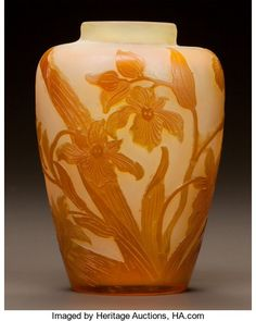 Art Glass:Galle, GALLÉ OVERLAY GLASS FLORAL CABINET VASE. Circa 1900. Cameogallé. Ht. 4-7/8 in.. ...