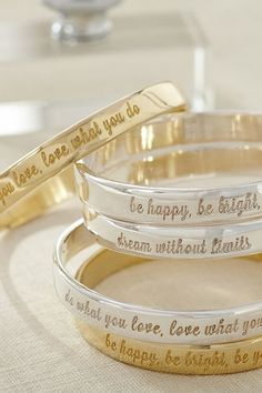 Inspirational sentiment bangles http://rstyle.me/n/j2fe9nyg6