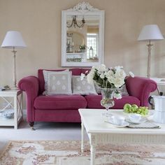 Looking for pink living room ideas? Pink is one of this season's hottest colours. We show you how to create a pink living room scheme you'll love Pink Living Room Furniture, Living Room Sofa, Living Room Decor, Living Rooms, Pink Furniture, Furniture Ideas, Purple Couch, Pink Sofa, Ideas