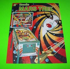 MARS TREK By SONIC 1977 ORIGINAL NOS PINBALL MACHINE PROMO SALES FLYER SPACE AGE  #pinball #retropinball