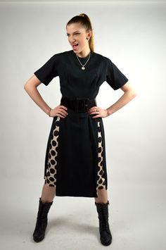 Vintage 1950's Black Dress with White and Black Polka Dot Inset Skirt Panels Rockabilly Polka Dot Dress Pin Up Polka Dot Dress Size Small by BuffaloGalVintage on Etsy