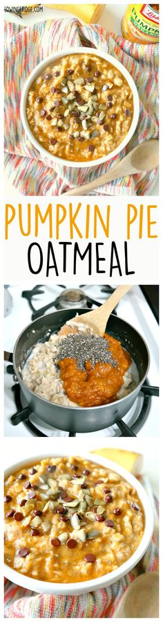 Healthy vegan 'Pumpkin Pie Oatmeal'. Warming, comforting and lusciously creamy, this bowl of pumpkin goodness will get you feeling good and keep you full until lunch. From The Glowing Fridge.