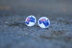 Items similar to Australia Flag Map Jewellery Glass Studs Surgical Grade Steel Posts For Sensitive Skin Gift Idea Christmas Going Away on Etsy
