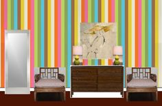 """A mock up of the design and wallcovering I'm thinking of. This is removable wallpaper and would be considerably easier ... but not necessarily """"my colors"""""""