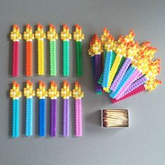 Birthday Candles, Perler Beads, Hama Beads, Bead sprites by hamabra