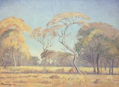 JH Pierneef, Oil on canvas on board, 290 x 390 mm, Bushveld Mural Painting, Artist Painting, Watercolour Painting, Landscape Paintings, Tree Paintings, Landscapes, African Paintings, South African Artists, Artist At Work