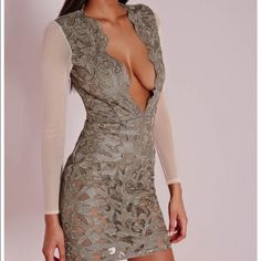 Misguided dress premium faux leather applique bodycon dress taupe with embellished design Missguided Dresses Long Sleeve