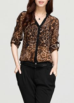 Leopard Trendy V Neck camisa de manga longa para a mulher Cheap Blouses, Shirt Blouses, Kurta Designs, Blouse Designs, Animal Print Fashion, Casual Outfits, Fashion Dresses, Womens Fashion, How To Wear