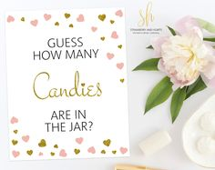 Get the party started with fun 'How many candies' game! Every baby shower has to have games and this one is the perfect ice breaker! #printable #babyshower #babyshowergames #babyshoweractivity #babyshowerstationery #SHdesigns