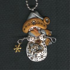 Steampunk Snowman Necklace Polymer Clay Jewelry. $22.00, via Etsy.