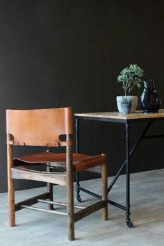 Wood Leather Safari Dining Chair