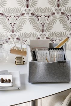 7 ways to use storage baskets. A basket with a wide, fl at base and straight sides is the best option for stationery as you can easily see what's inside and paper won't become creased. Fabric Storage Boxes, Desk Storage, Storage Baskets, Space Crafts, Home Crafts, Home Office Design, Office Decor, Home Organisation, Felt Fabric