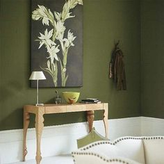 Nice Dark Green Living Room Ideas With Olive Green Living Room Living Room Furniture Decorating Ideas Green Dining Room, Living Room Green, Bedroom Green, New Living Room, Green Kitchen, Cozy Living, Olive Green Rooms, Olive Green Paints, Room Colors