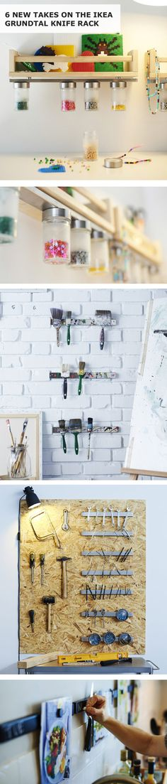 All you need is a little creativity and a magnetic knife rack! Check out 6 DIY ideas to use the IKEA GRUNDTAL knife rack.