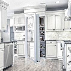 Murphy Door's Flush Mount Pantry Door is a specialty door designed for both beauty and function. Kitchen Pantry Design, Home Decor Kitchen, New Kitchen, Home Kitchens, Dream Kitchens, Kitchen Ideas, Murphy Door, Hidden Pantry, Open Concept Kitchen