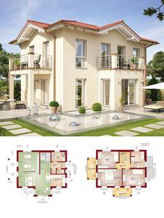 Stadtvilla als Landhaus im mediterranen Stil & Walmdach Architektur - Einfamilienhaus bauen Grundriss Haus Evolution 122 V15 Bien Zenker Fertighaus - HausbauDirekt.de