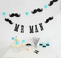 Mr. Man Birthday Garland. Boy Party. Little Man Bash