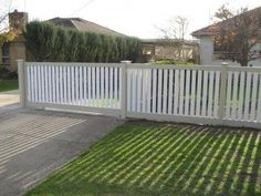 We designed an extensive range of picket styles and configurations to suit every home - from the ultra modern to traditional period styles. Front Yard Fence, Farm Fence, Fenced In Yard, Front Yard Landscaping, Picket Fence Gate, White Picket Fence, Sliding Gate, Palette, Fence Design