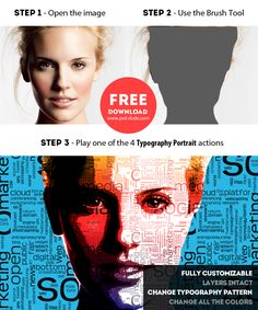 Typography Portrait Photoshop Free Actions | PSDDude