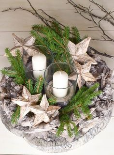 Beautiful natural Advent wreaths: 4 great ideas for you - Mrs Greenery - Advent wreath ideas DIY yourself: of course quickly made. Advent wreaths from nature. Decoration id - Natural Christmas, Noel Christmas, Rustic Christmas, Winter Christmas, Christmas Crafts, Diy Spring Wreath, Diy Wreath, Wreath Ideas, Diy Beauty Organizer
