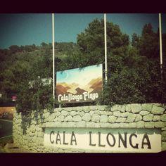 Cala Llonga Playa -Cala Llonga beach sign going into Cala Llonga