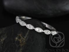 Leah 14kt White Gold Extra Low Profile WITH by RosadosBox on Etsy