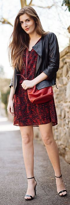 Red Printed Inspiration Dress #Fashionistas