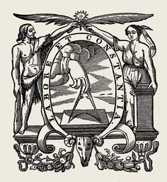 """Labore et Constantia (""""By Labor and Constancy"""") the printers mark of the Christophe Plantin"""