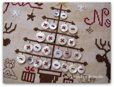 How about cross stitching a tree and adding vintage metal buttons for a unique display of your button collection? Xmas Cross Stitch, Cross Stitch Love, Cross Stitch Finishing, Modern Cross Stitch, Cross Stitch Designs, Cross Stitching, Cross Stitch Embroidery, Cross Stitch Patterns, Christmas Sewing