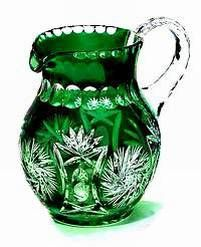 Beautiful Vivid Emerald Green Crystal Pitcher Liter - Green Cut to Clear Crystal Glassware, Waterford Crystal, Cut Glass, Glass Art, Vase Cristal, Kobalt, Crystal Gifts, Clear Crystal, Carnival Glass