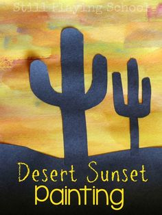 Easy art idea for kids: Paint a desert sunset with watercolors