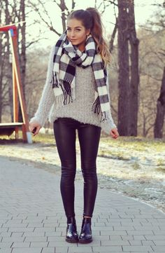 Black leather leggins + gray sweater + gray plaid scarf + black booties