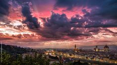 Florence from Piazzale Michelangelo at sunset after a powerful storm