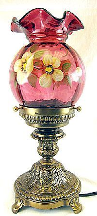 Fenton Art Glass - 14'' Lamp with Cranberry Shade  I want this lamp and I bet my husband would even want it more than me!