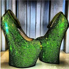 love these green sparkly shoes they remind me of insects
