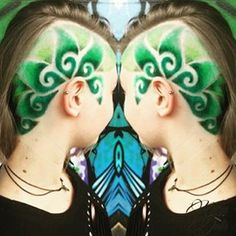 Green shaved hair swirl design - New Hair Design Side Hairstyles, Pretty Hairstyles, Amazing Hairstyles, Haircuts, Shave Designs, Hair Tattoo Designs, Shaved Hair Designs, Haircut Designs, Corte Y Color