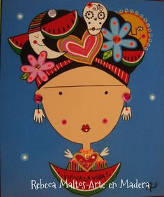 Diy And Crafts, Crafts For Kids, Arts And Crafts, Kahlo Paintings, Mexican Art, Color Shapes, Painting On Wood, Creative Art, Pattern Design