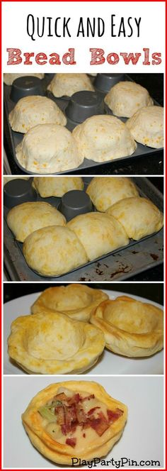 Quick and easy homemade bread bowls. Wish I had thought of that!