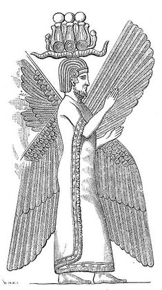 """The four-winged guardian figure representing Cyrus the Great, a bas-relief found at Pasargadae on top of which was once inscribed in three languages the sentence """"I am Cyrus the king, an Achaemenian."""""""