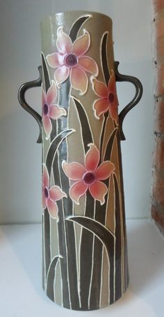 Frederick Rhead Foley Urbato Daffodil Tall Vase 4056 Tall Vases, Daffodils, Arts And Crafts, Pottery, Wall Art, Bottle, Wine Decanter, Bottles, Corning Glass