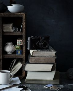 perfect work space with coffee, books & a leica, what else ?