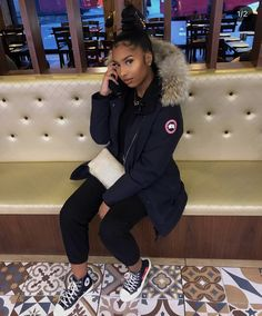 p i n t e r e st: j. Boujee Outfits, Swag Outfits For Girls, Chill Outfits, Winter Fashion Outfits, Dope Outfits, Cute Casual Outfits, Stylish Outfits, Canada Goose Women, Canada Goose Parka