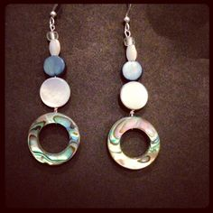 Abalone Circle Earrings  Price: $20 #jewelry #seaglass