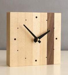 Square Birch Desk Clock by magszilla